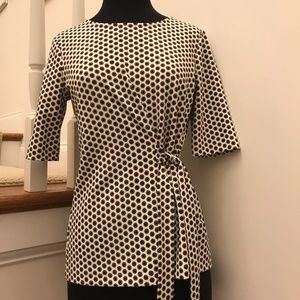 NWOT Ann Taylor Spots Tie Accent Top Size Small